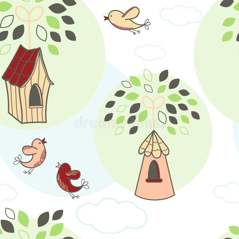Bezszwowy wzór z drzewami i ptakami ilustracja wektor