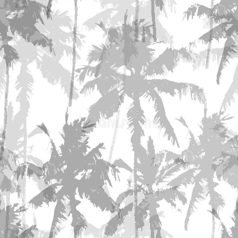 Bezszwowy wzór z drzewkami palmowymi royalty ilustracja