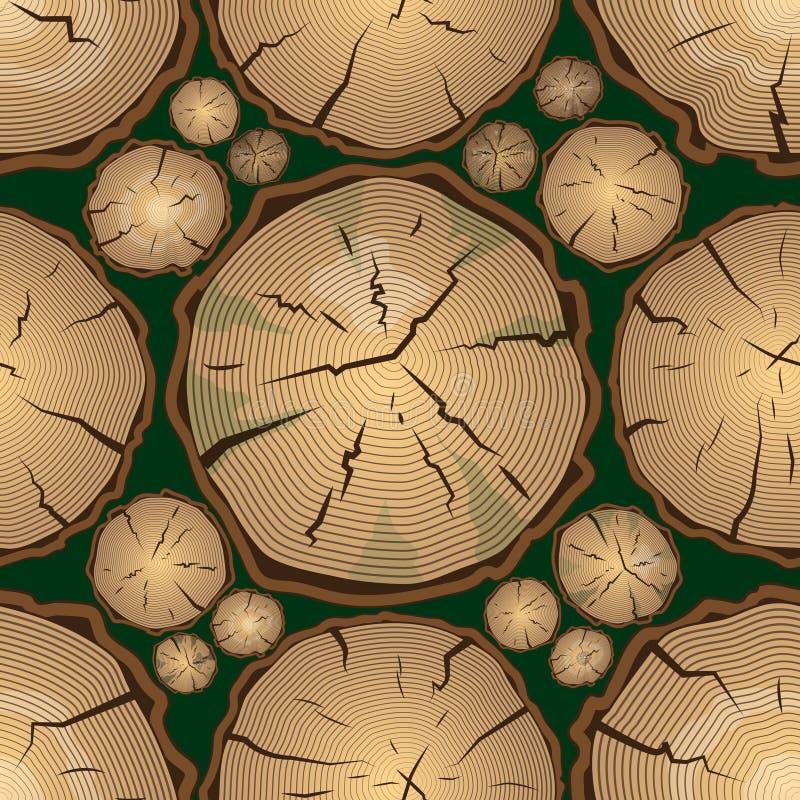 Bezszwowy wzór z Drzewnymi pierścionkami ilustracji