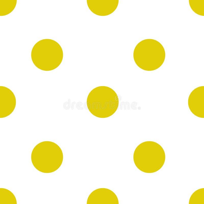 Bezszwowy wzór z dużymi żółtymi polek kropkami na pogodnym białym tle Dla kart, zaproszeń, ślubu lub dziecka prysznic albumów, ilustracji