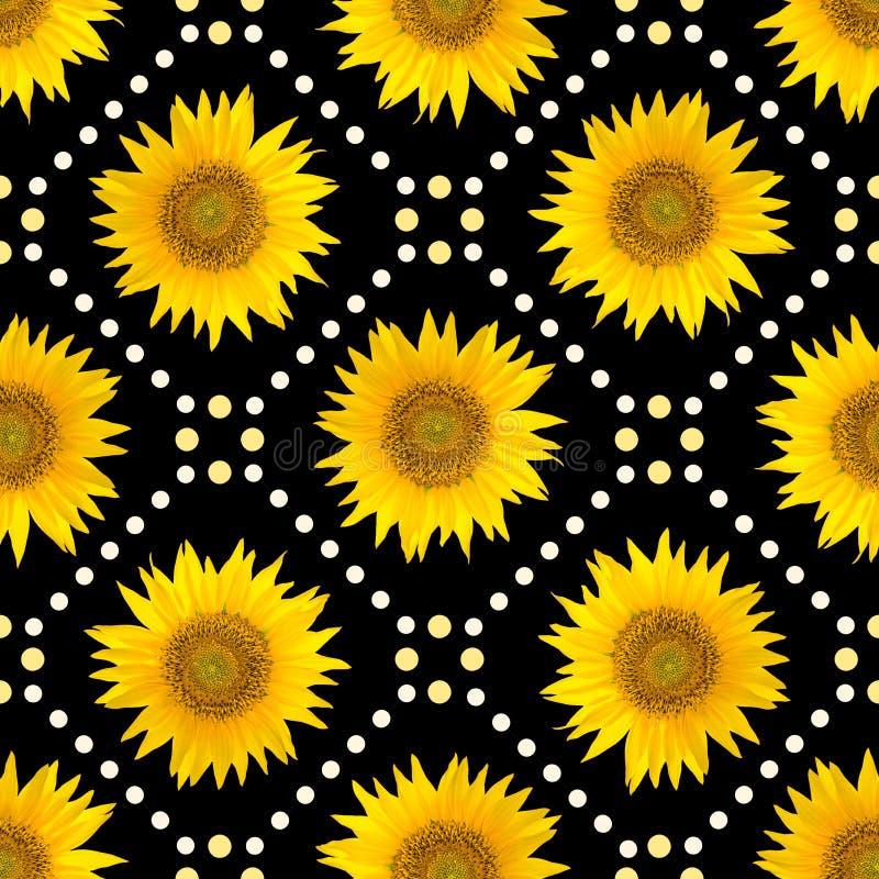 Bezszwowy wzór z dużymi jaskrawymi brąz kropkami i słonecznikami na czarnym tle ilustracji