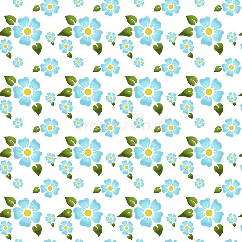 Bezszwowy wzór z dużymi, małymi kwiatami z na białym tle i ilustracja wektor