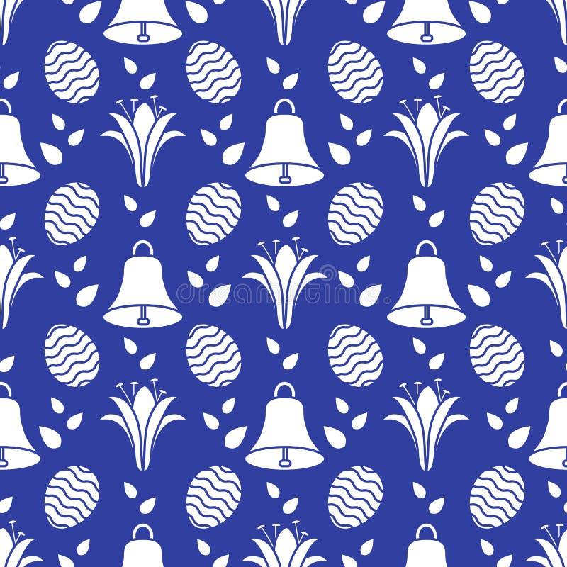 Bezszwowy wzór z dzwonem, leluja, jajeczna Szczęśliwa wielkanoc ilustracja wektor