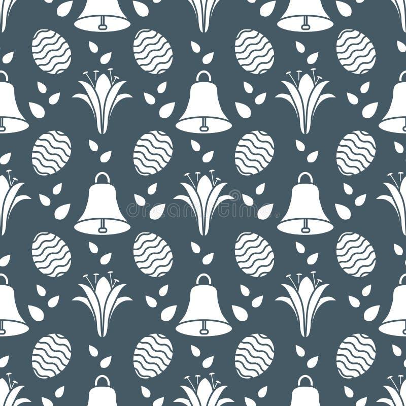 Bezszwowy wzór z dzwonem, leluja, jajeczna Szczęśliwa wielkanoc royalty ilustracja