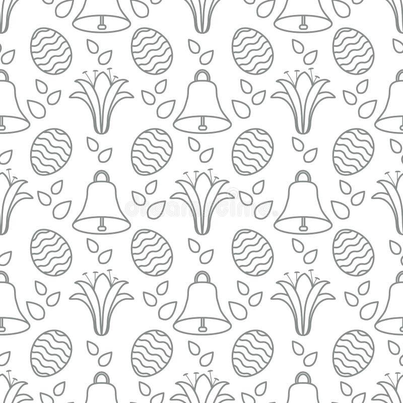 Bezszwowy wzór z dzwonem, leluja, jajeczna Szczęśliwa wielkanoc ilustracji
