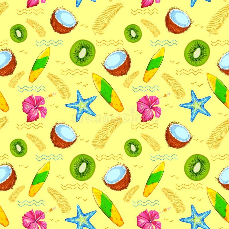 Bezszwowy wzór z Egzotycznym Tropikalnym kwiatem ilustracji