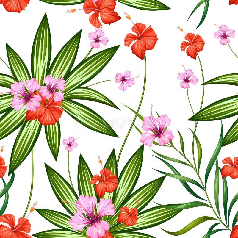 Bezszwowy wzór z Egzotycznym Tropikalnym kwiatem royalty ilustracja