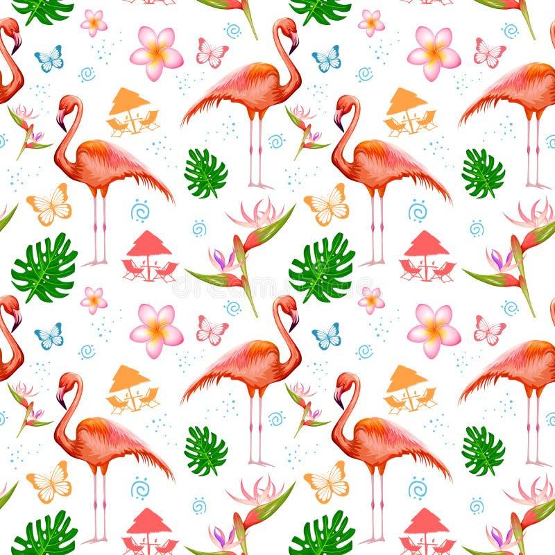 Bezszwowy wzór z Egzotycznym Tropikalnym kwiatem i flamingiem ilustracji