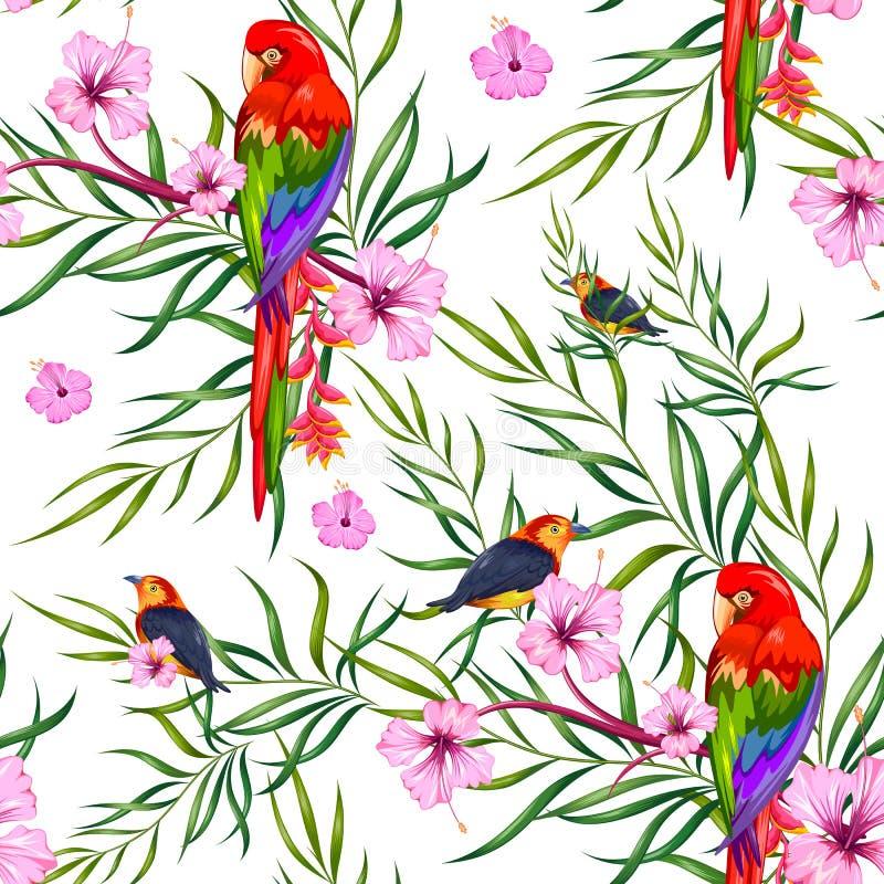 Bezszwowy wzór z Egzotycznym Tropikalnym kwiatem i kolorowym ptakiem ilustracji