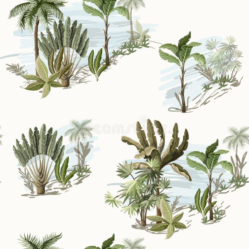 Bezszwowy wzór z egzotycznymi drzewami na krajobrazie taki my palma i banan Wewnętrzna rocznik tapeta royalty ilustracja