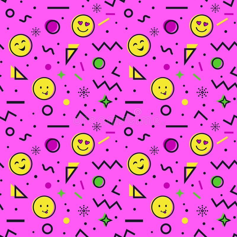 Bezszwowy wzór z emoji w Memphis stylu ilustracja wektor