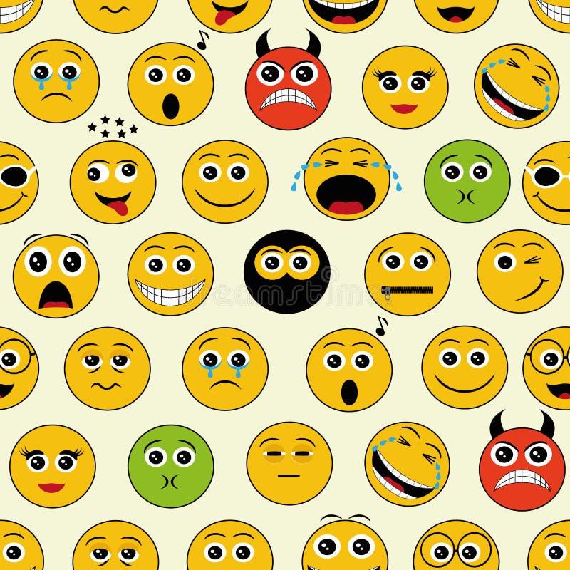 Bezszwowy wzór z emoticons royalty ilustracja
