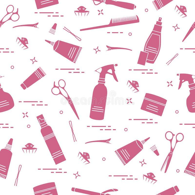 Bezszwowy wzór z fachowymi fryzjerów narzędziami Fasonuje royalty ilustracja
