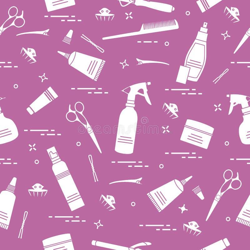 Bezszwowy wzór z fachowymi fryzjerów narzędziami Fasonuje ilustracja wektor