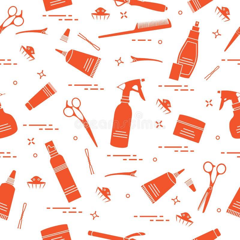 Bezszwowy wzór z fachowymi fryzjerów narzędziami Fasonuje ilustracji