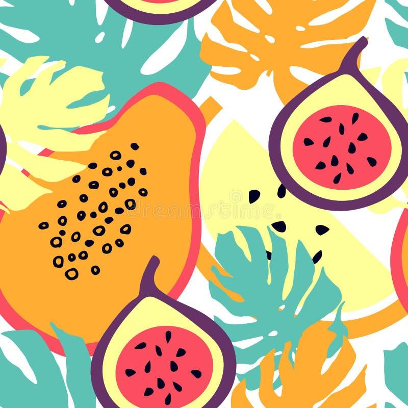 Bezszwowy wzór z figami, monstera liśćmi, melonem i melonowem, ilustracja wektor