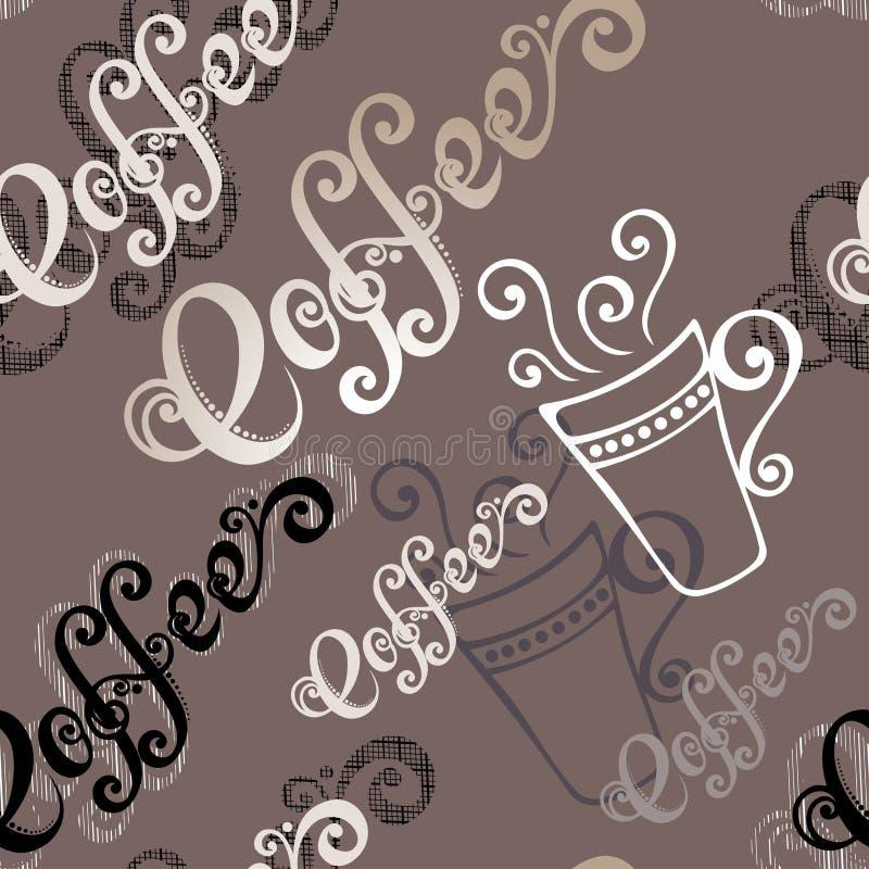 Bezszwowy wzór z filiżankami kawy (wektor) royalty ilustracja