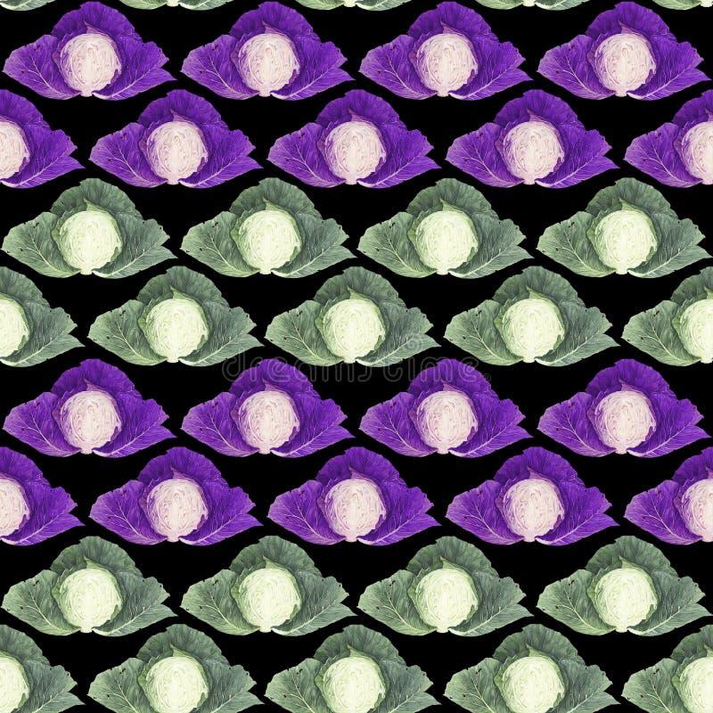 Bezszwowy wzór z fiołkiem i zieloną kapustą adobe korekcj wysokiego obrazu photoshop ilości obraz cyfrowy prawdziwa akwarela fotografia stock