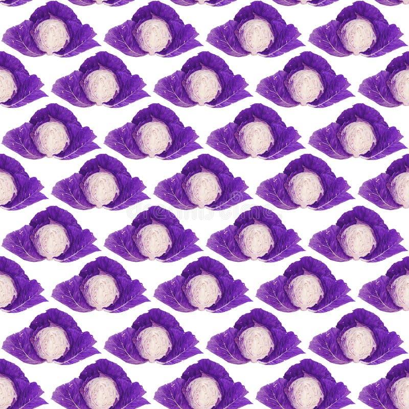Bezszwowy wzór z fiołkową kapustą adobe korekcj wysokiego obrazu photoshop ilości obraz cyfrowy prawdziwa akwarela obrazy royalty free