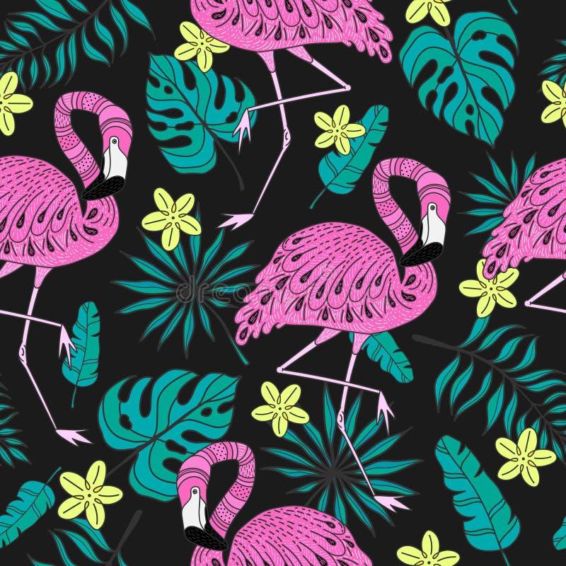 Bezszwowy wzór z flamingiem, egzotów liście Wręcza patroszonych wektorowych tropikalnych elementy na ciemnym tle ilustracji