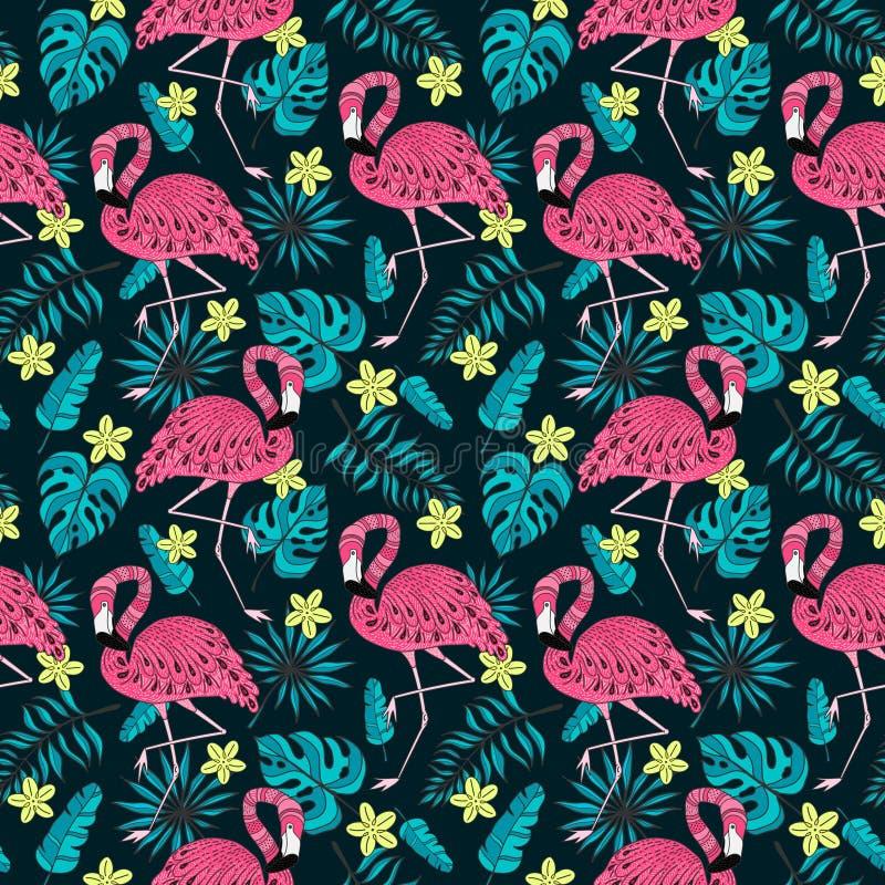 Bezszwowy wzór z flamingiem, egzotów liście Wręcza patroszonych wektorowych tropikalnych elementy na ciemnym tle ilustracja wektor