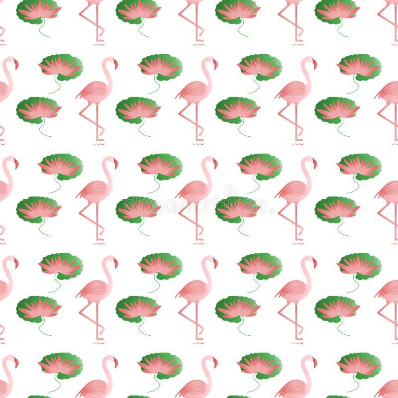 Bezszwowy wzór z flamingiem i wodną lelują royalty ilustracja