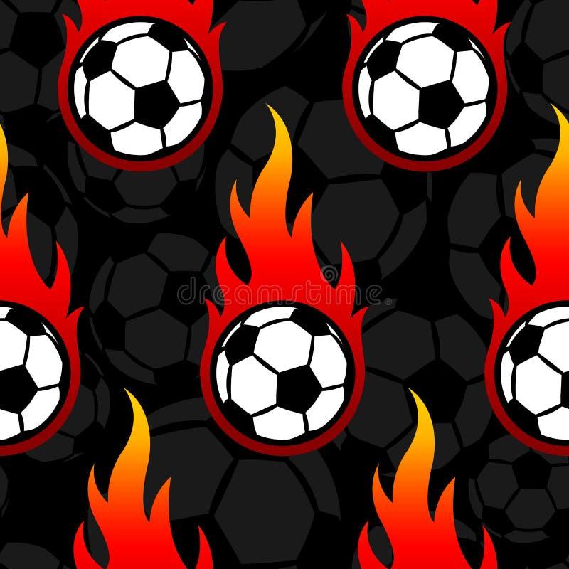 Bezszwowy wzór z futbolowymi piłki nożnej piłki ikonami i płomieniami ilustracji