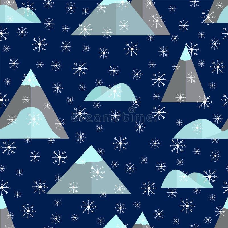 Bezszwowy wzór z górą i płatkami śniegu royalty ilustracja