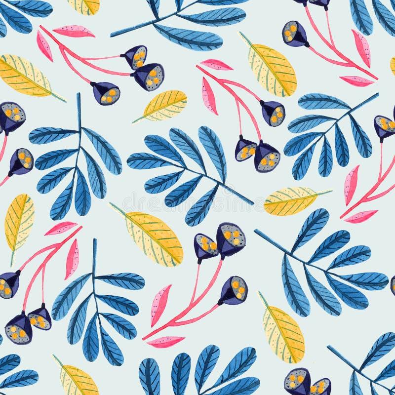Bezszwowy wzór z gałąź, kwiatami i liśćmi akwareli, ilustracja wektor