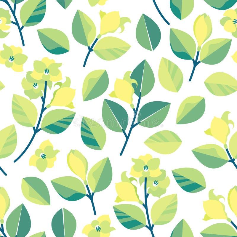 Bezszwowy wzór z gałąź, liśćmi i cytryną, kwitnie Wiosny tło w płaskim stylu royalty ilustracja