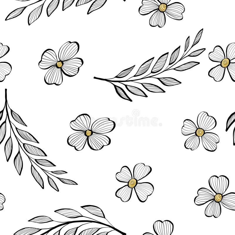 Bezszwowy wzór z gałąź liście i kwiaty w stylu nakreślenia Kolorowa ilustracja na bielu ilustracja wektor