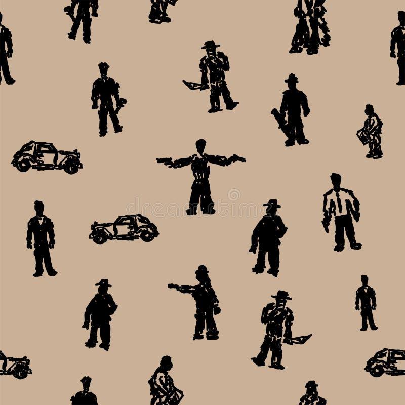 Bezszwowy wzór z gangsterami i rocznika samochodu sylwetkami Grunge druk r?wnie? zwr?ci? corel ilustracji wektora royalty ilustracja