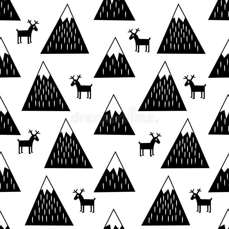 Bezszwowy wzór z geometrycznymi śnieżnymi górami i reniferami Śliczny zim gór tło ilustracja wektor