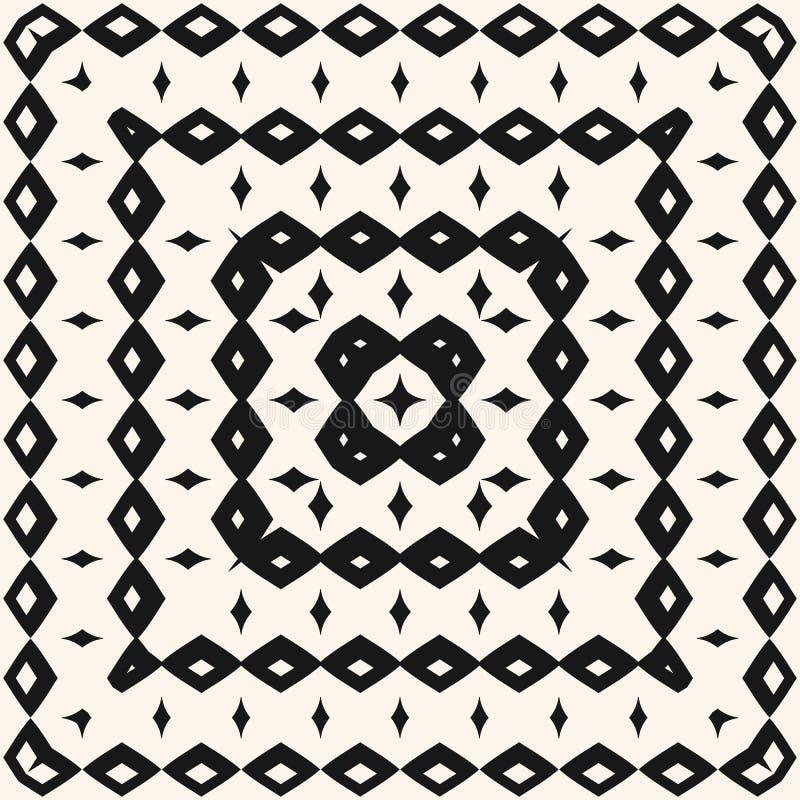 Bezszwowy wzór z geometrycznymi elementami, kwadraty, rhombuses Etniczna plemienna tło tekstura ilustracja wektor