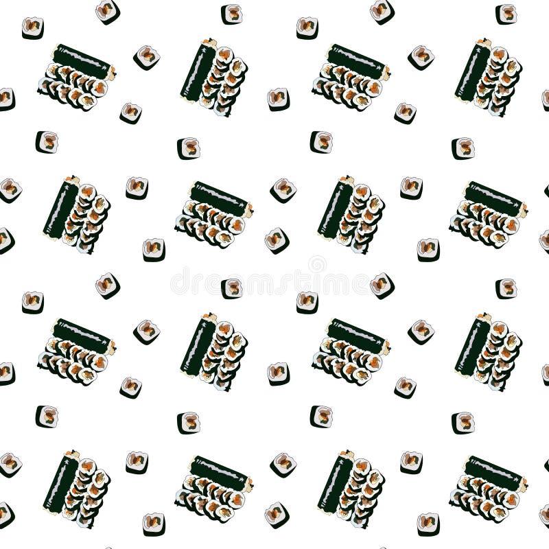 Bezszwowy wzór z gimbap plasterkami na białym tle Koreański suszi lub rolka Koreański tradycyjny naczynia gimbap royalty ilustracja