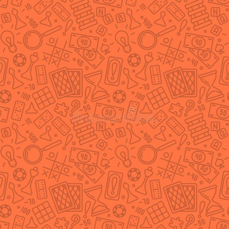 Bezszwowy wzór z gra planszowa atrybutami w liniowym stylu ilustracja wektor
