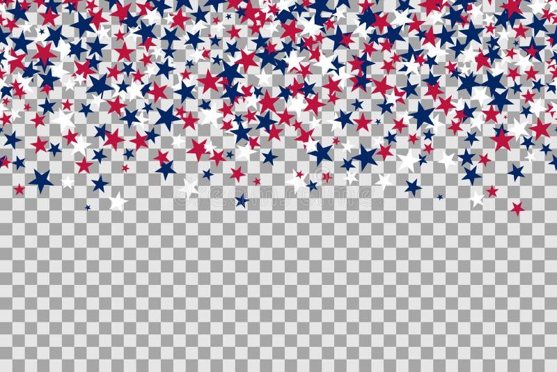 Bezszwowy wzór z gwiazdami dla dnia pamięci świętowania na przejrzystym tle royalty ilustracja