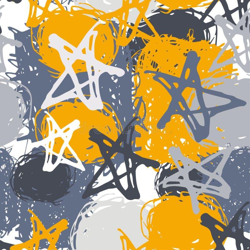 Bezszwowy wzór z gwiazdami i punktem nakreślenie Szarość, żółty tło ilustracja wektor