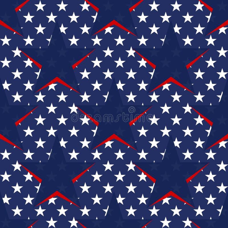 Bezszwowy wzór z gwiazdami w flaga amerykańska temacie Akcyjny wektor ilustracja wektor
