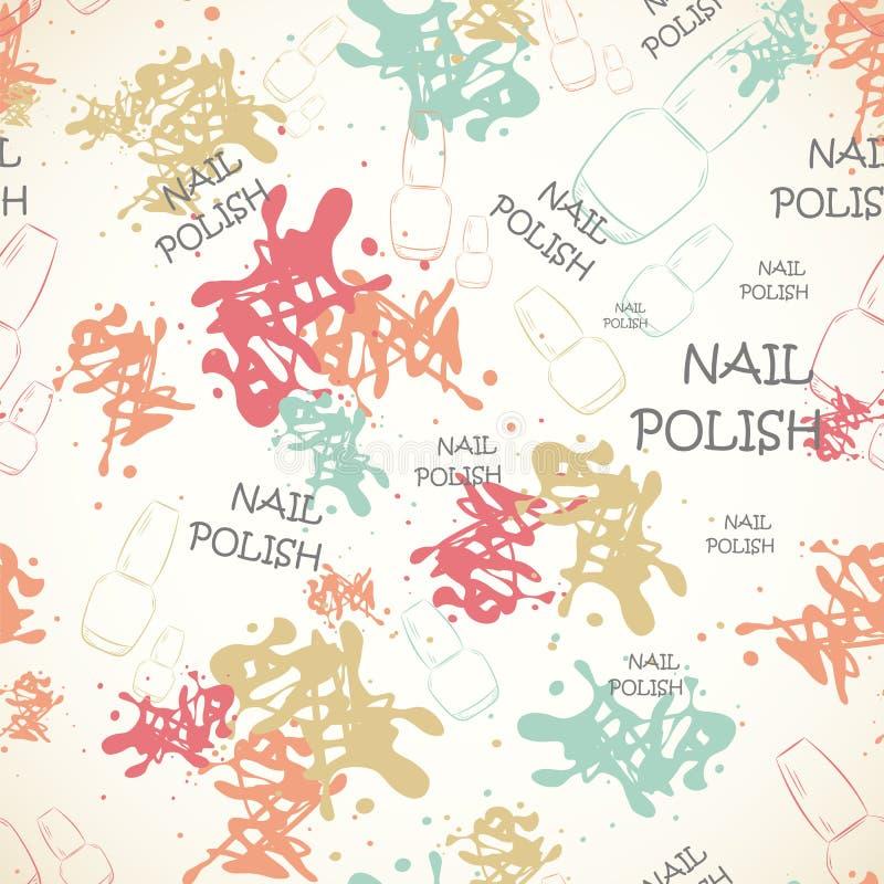 Bezszwowy wzór z gwoździa lakierem dla teksta i rozlewającej farby ilustracja wektor