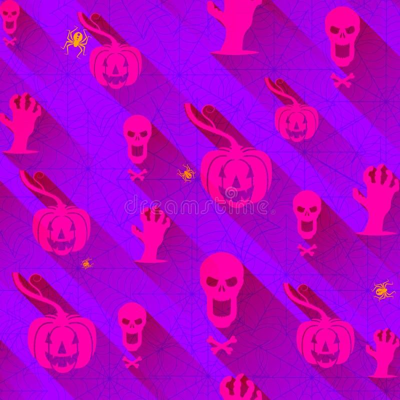 Bezszwowy wzór z Halloweenowymi elementami i pajęczynami Modny purpurowy tło kolor royalty ilustracja