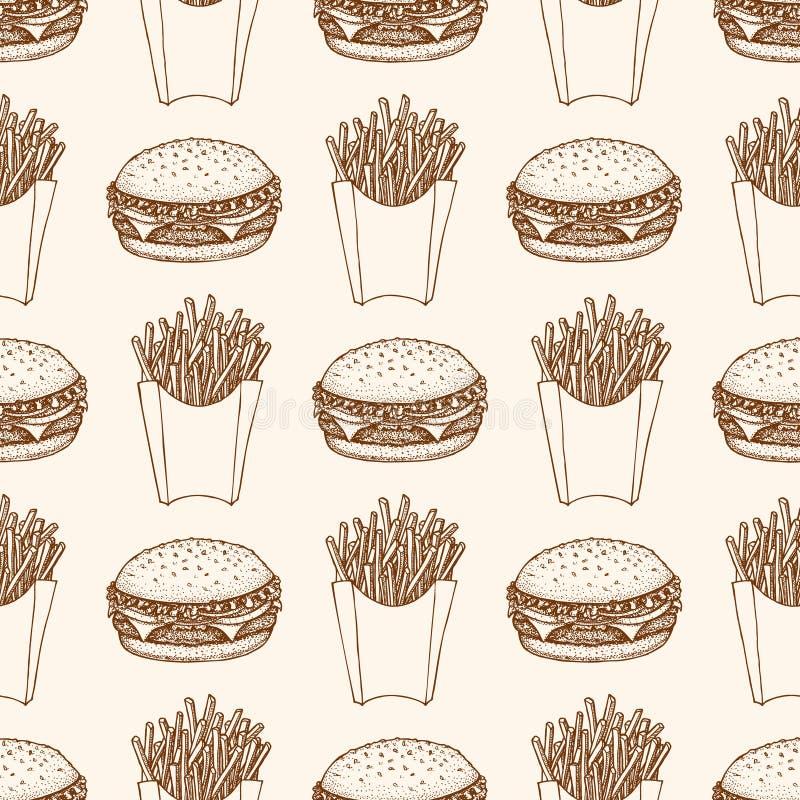 Bezszwowy wzór z hamburgeru i francuza dłoniakami Ilustracja fast food ilustracji
