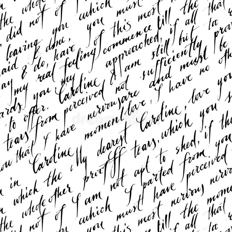 Bezszwowy wzór z handwriting tekstem royalty ilustracja