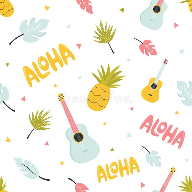 Bezszwowy wzór z hawajczyka lata elementami ilustracji