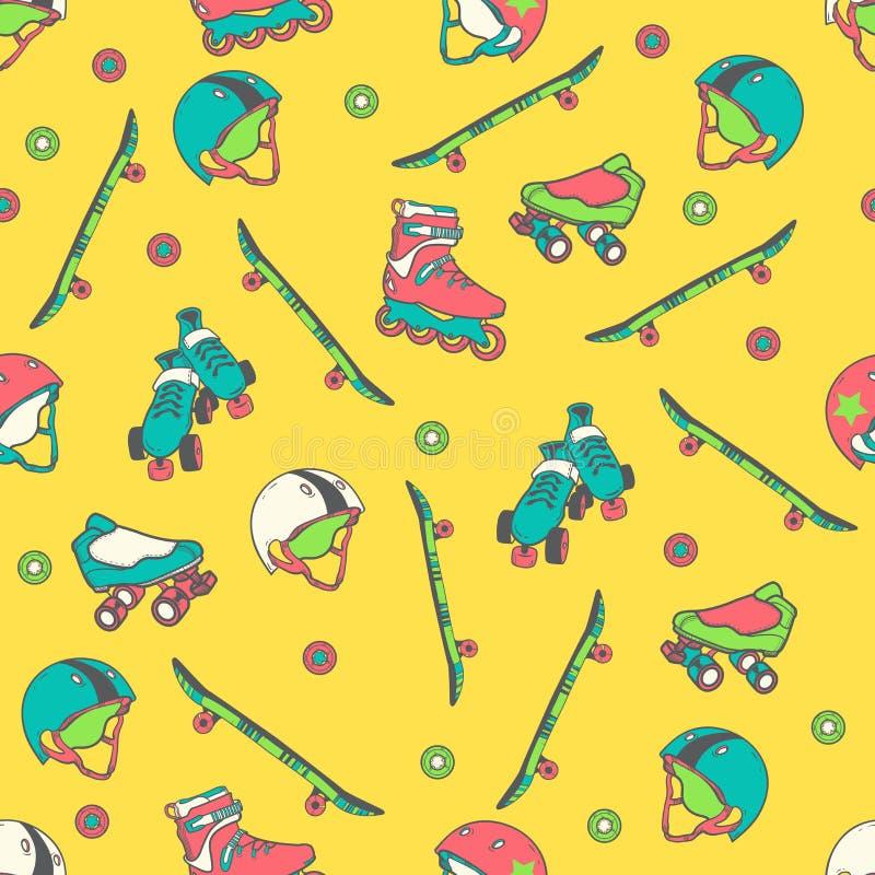 Bezszwowy wzór z hełmami, jeździć na łyżwach, jeździć na deskorolce, ilustracja wektor
