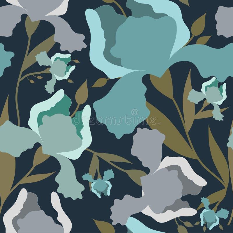 Bezszwowy wzór z irysowym kwiatem Kolorowy tekstylny druk obraz stock