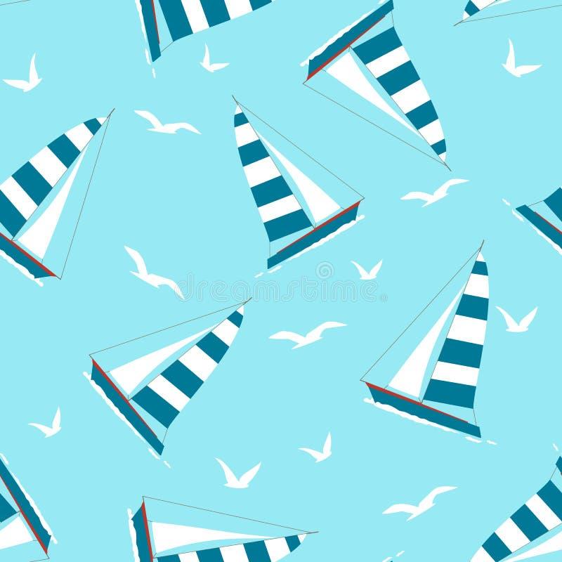 Bezszwowy wzór z jachtem i Seagulls fotografia stock