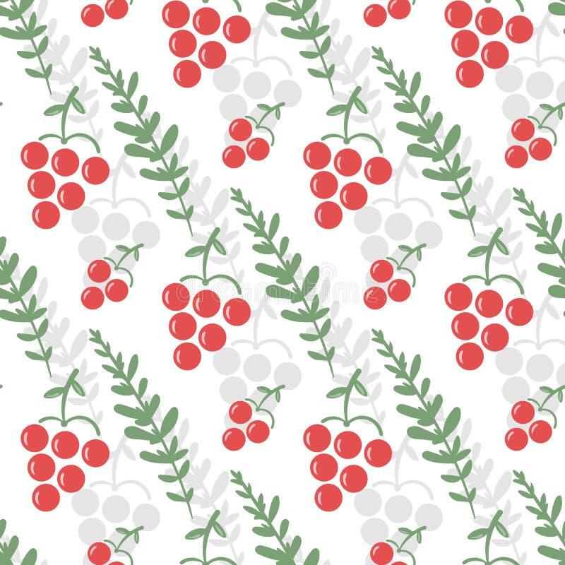 Bezszwowy wzór z jagodami viburnum i zieleni liście royalty ilustracja