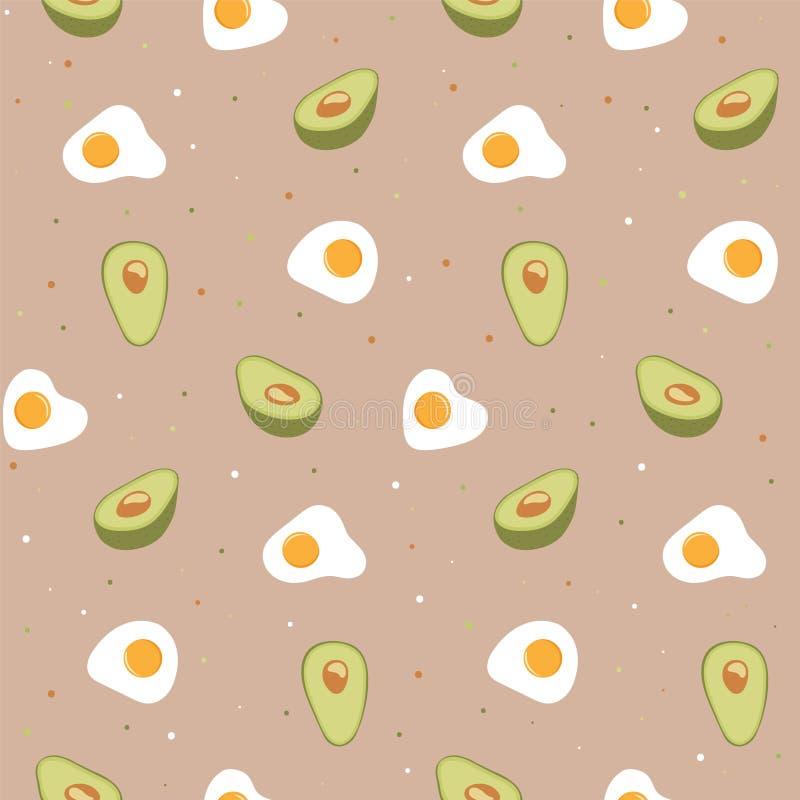 Bezszwowy wzór z jajkiem i avocado ilustracja wektor