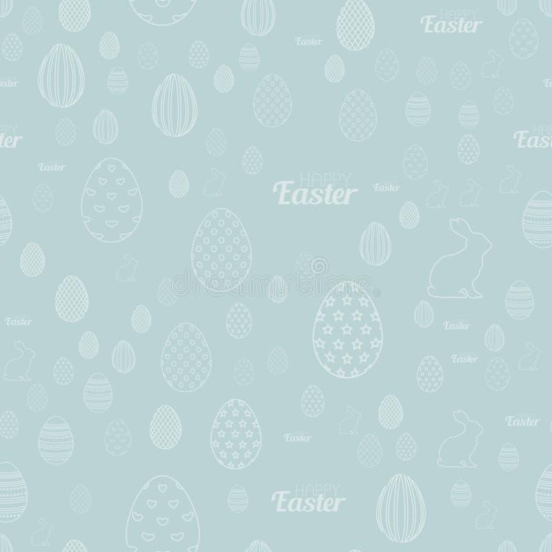 Bezszwowy wzór z jajko królikami na błękitnym tle wektor ilustracji